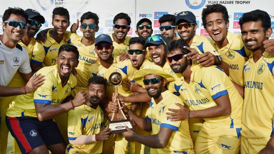 Tamil nadu state team with trophy