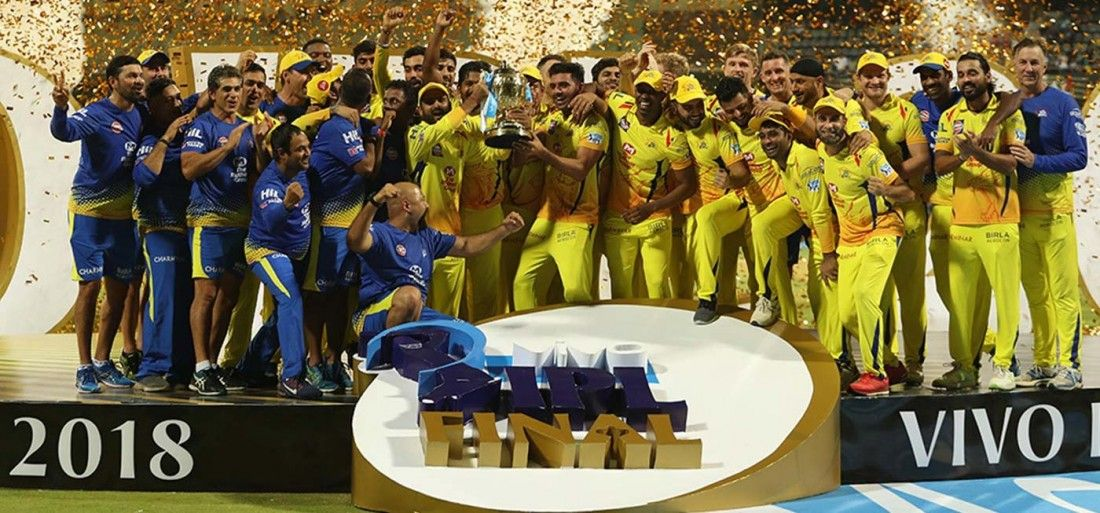 csk team with ipl trophy