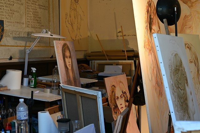 Paintings at the workshop