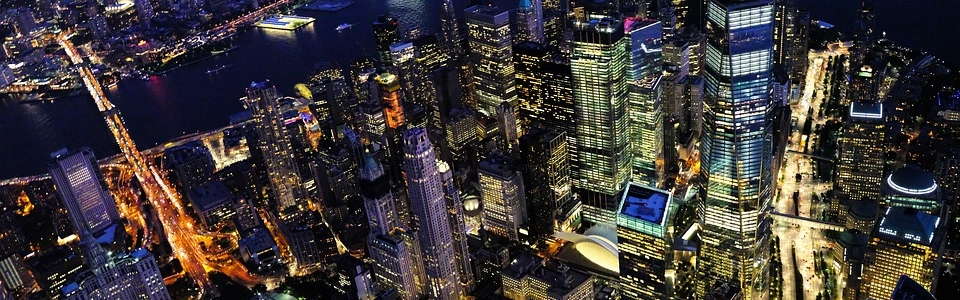 A NYC skyline at night.